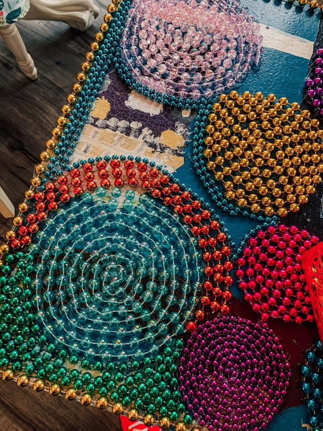 Circle beadwork on an art desk