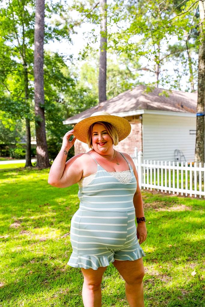 Tiffany in a straw wide brim boater hat