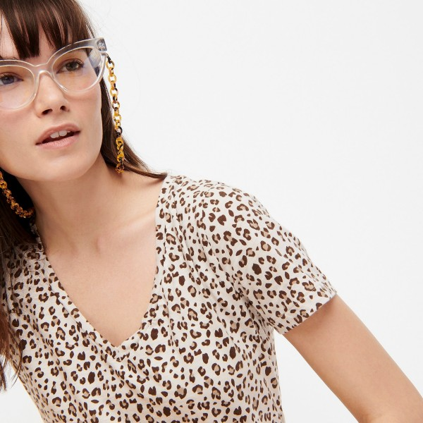 JCrew Neutral Leopard Print Top