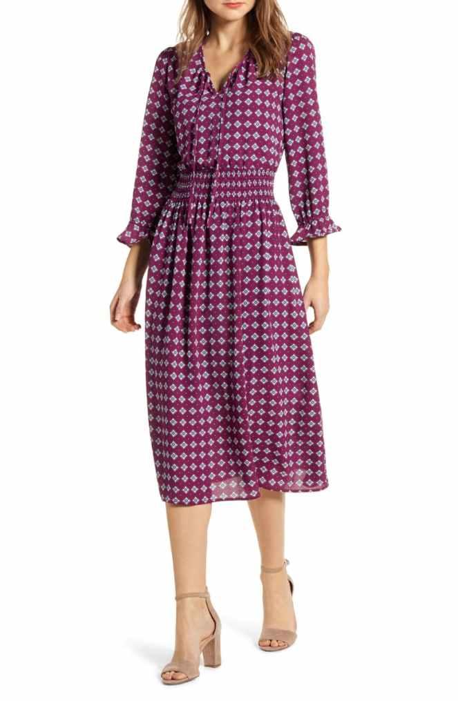 Nordstrom Midi Dress in Aubergine and Lavender