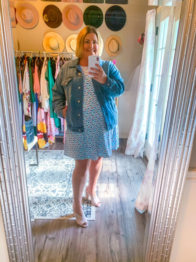Tiffany in a Bon Temps t-shirt dress with a jean jacket - Fun T-shirt dresses and how to style them