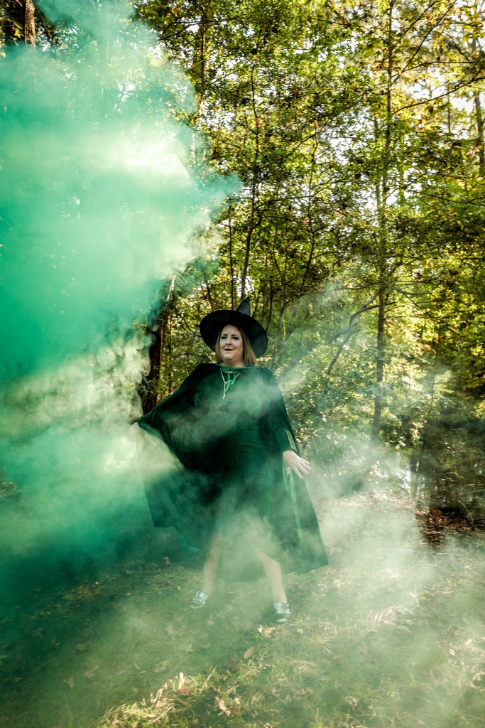 Getting Witchy with it - styled photoshoot for Halloween - Tiffany as a green witch