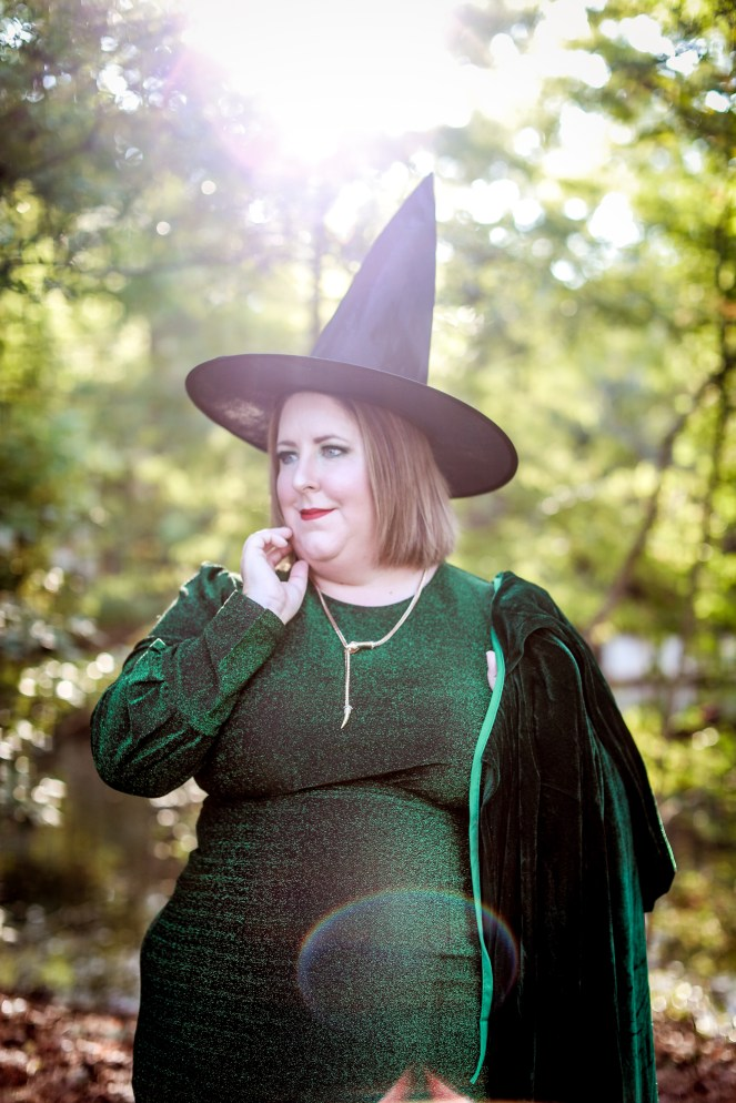 Styled photoshoot for Halloween - Tiffany as a green witch