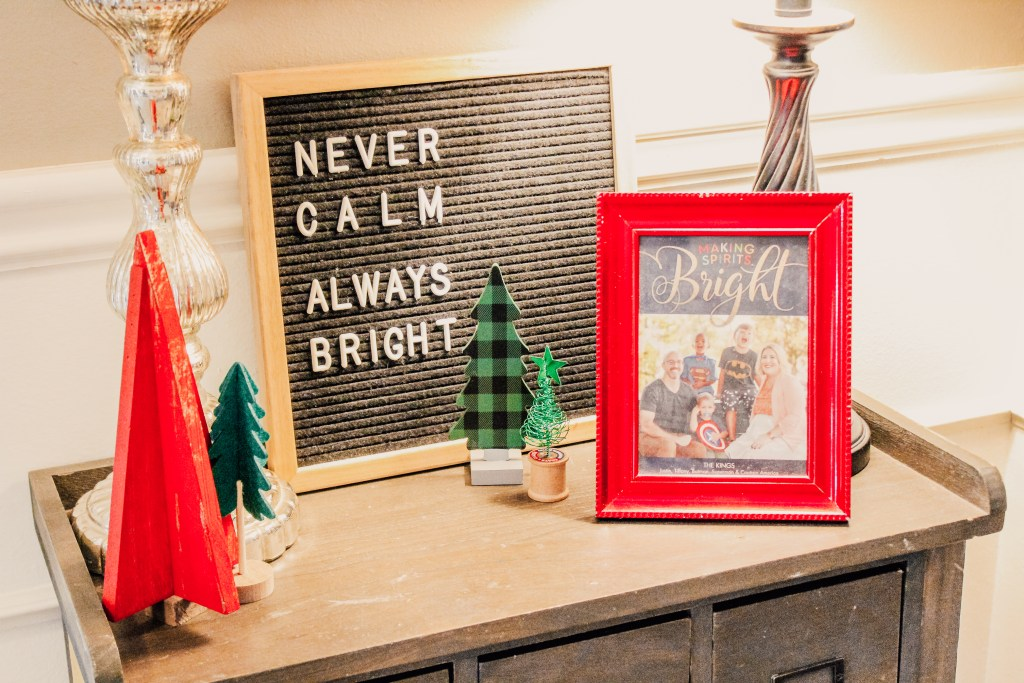 Entry way table with Christmas Card Display