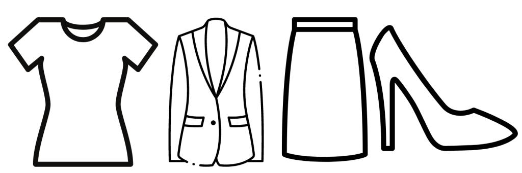 Capsule Wardrobe Example: Top, Jacket, Skirt and heels