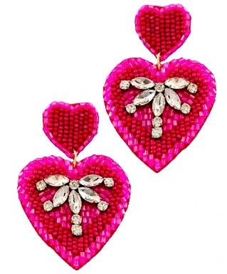 Shop golden Lily HEart earrings.