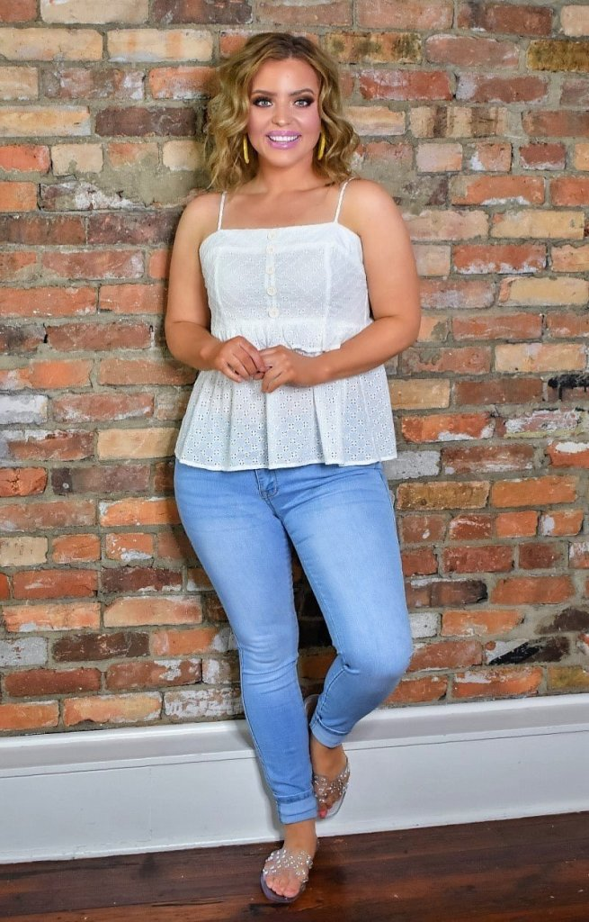 Ivory eyelet Perfectly Priscilla Boutique Top