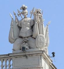 Chevalier sur le toit du château de la ville