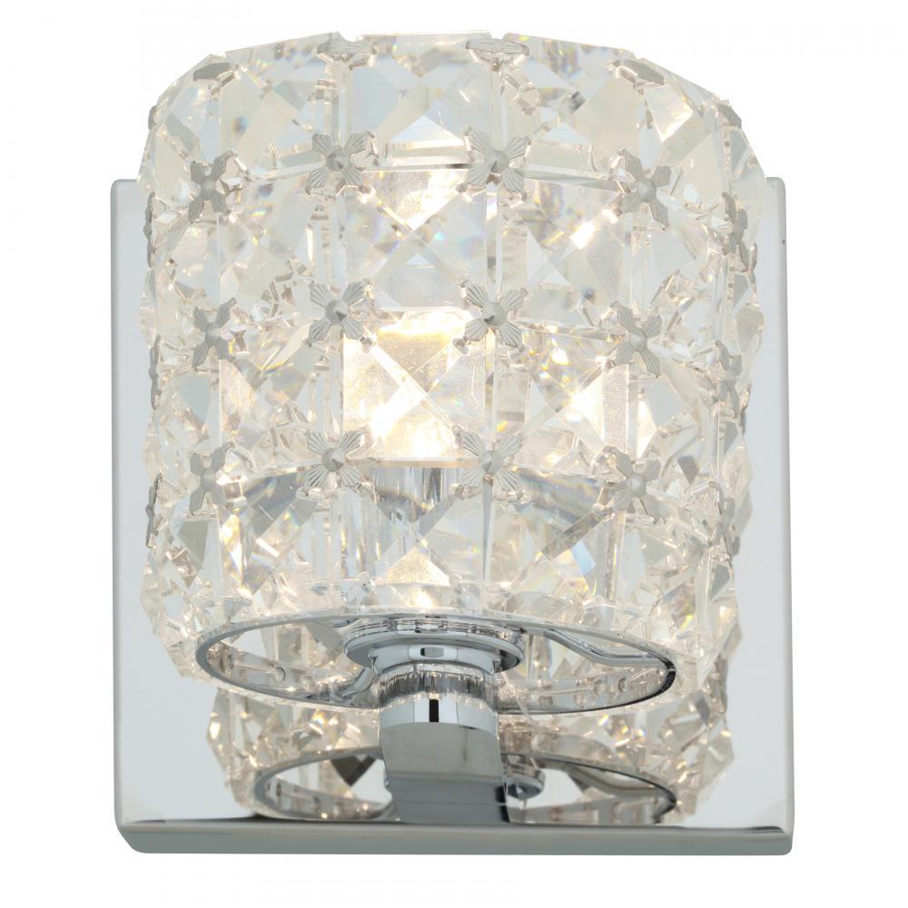 Access Chrome / Clear Crystal Prizm 1 Light Bathroom ... on Crystal Bathroom Sconces id=73871