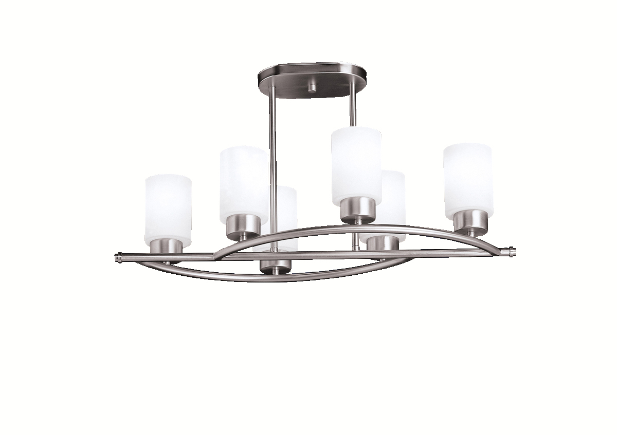 Kichler Brushed Nickel Modena Single Tier Linear Chandelier With 6 Lights Brushed Nickel Ni