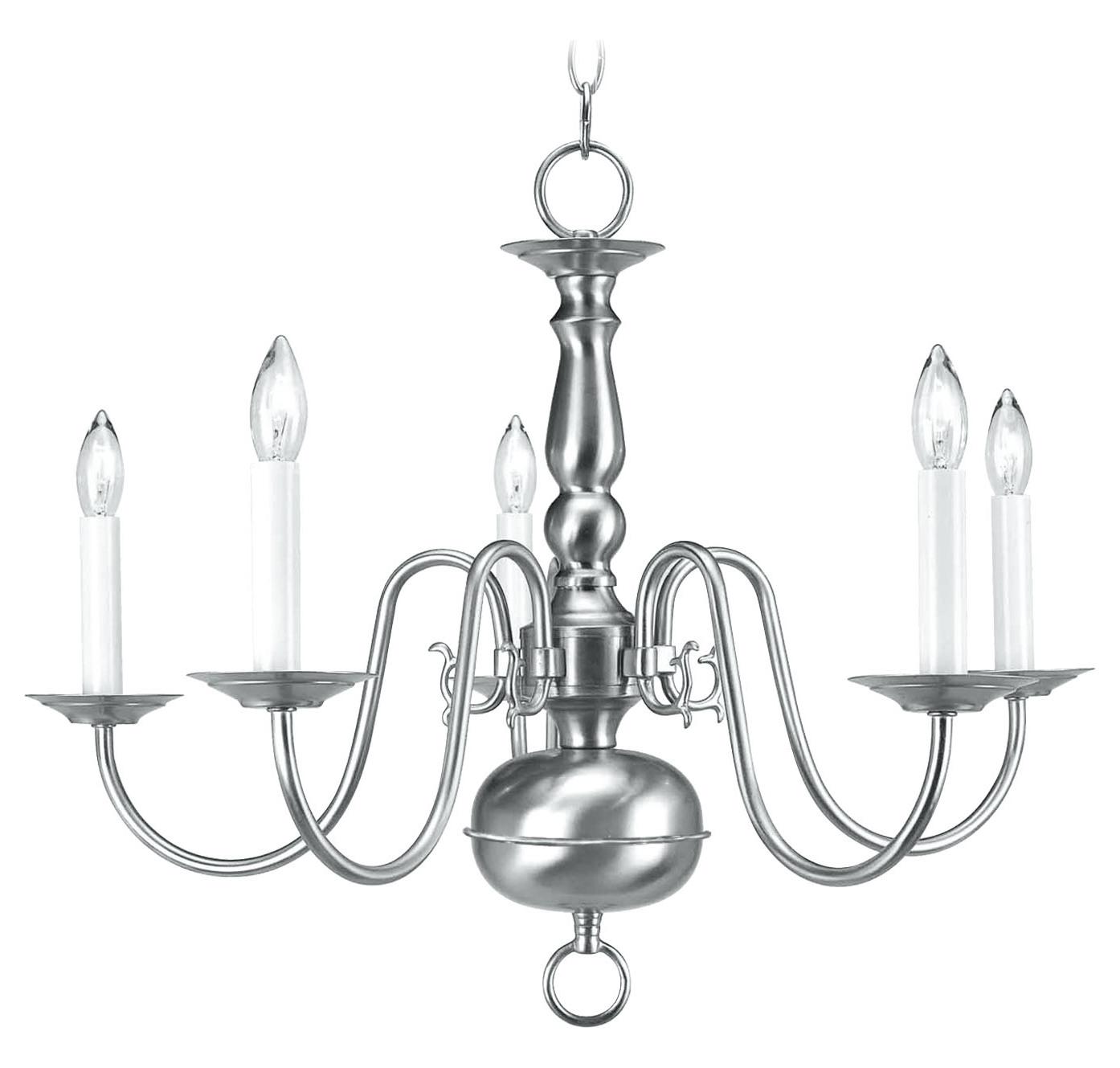 Livex Lighting Brushed Nickel 5 Light 300w Chandelier With
