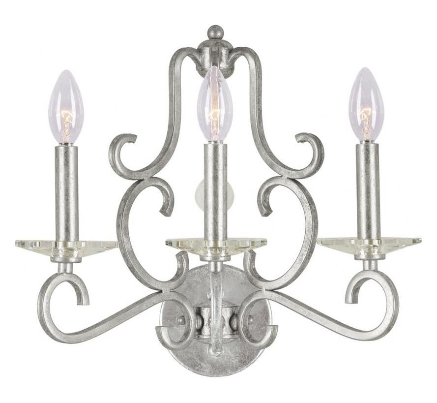 Crystorama Olde Silver / Hand Polished Orleans 3 Light ... on Silver Wall Sconces For Candles id=25312