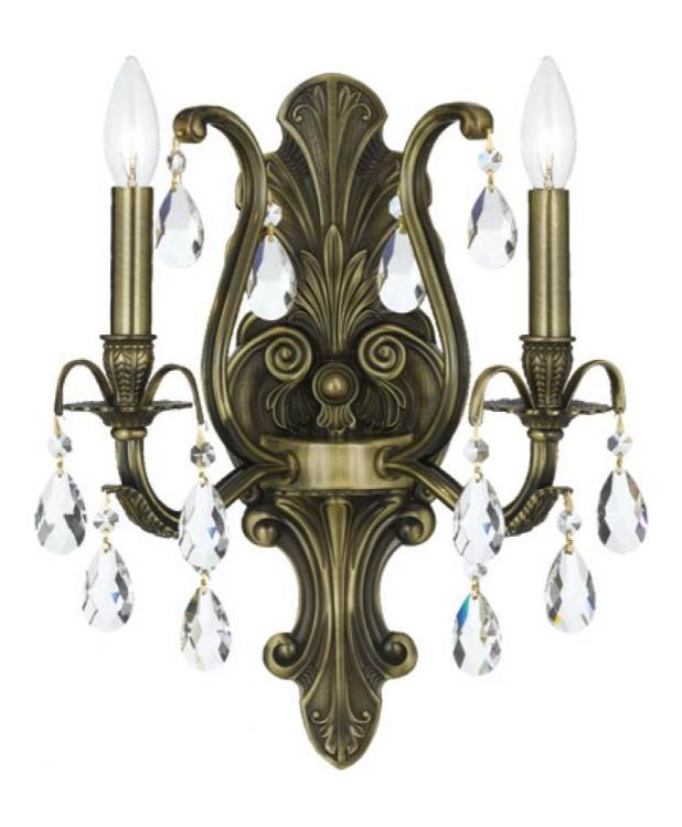 Crystorama Antique Brass / Hand Polished Dawson 2 Light ... on Antique Style Candle Holder Sconces id=83249