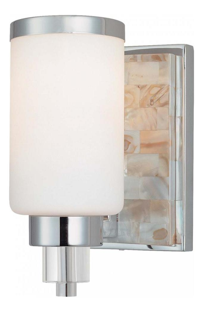 Minka-Lavery Chrome With Natural Shell 1 Light 7.75In ... on Height Of Bathroom Sconce Lights id=64651