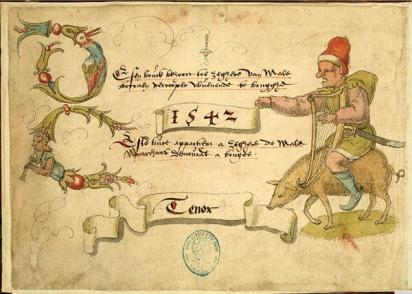 Strona tytułowa księgi tenorowej, na świni jedzie garbaty legionista z harfą.