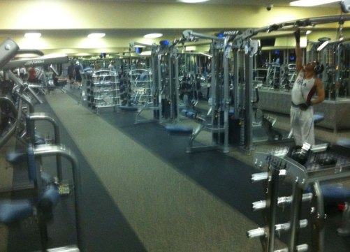 Upstairs weight area at 24 Hour Fitness on Santa Monica Blvd