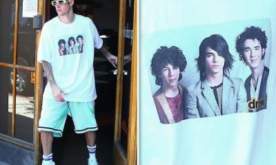 Justin Bieber Wears a Jonas Brothers Shirt to the Spa with Hailey