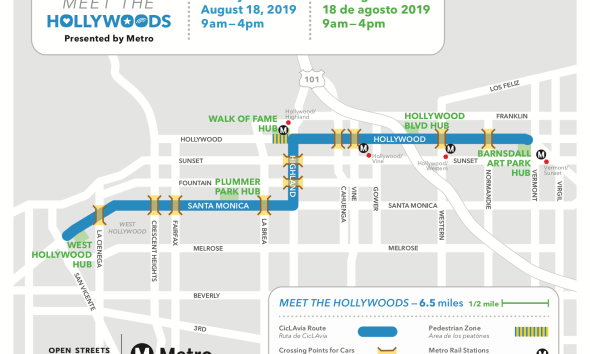 'CicLAvia—Meet The Hollywoods' will Debut New Route through the City of West Hollywood on Sunday, August 18