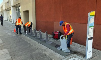 City Workers Remove WeHo Pedals Bicycle Docks on Santa Monica Blvd