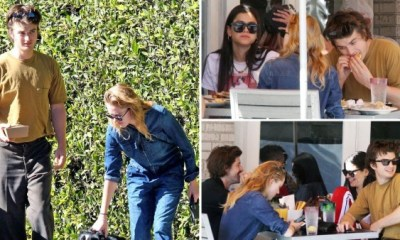 Stranger Things' Joe Keery and girlfriend Maika Monroe take home doggy bag after chowing down with pups