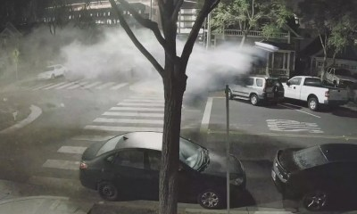 Caught On Video: Driver Hits Roundabout, Launches 15 Feet Into Air