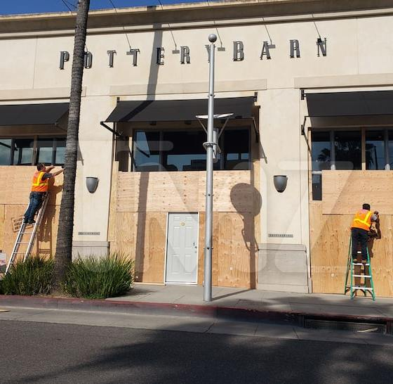 L.A. Pottery Barn Boards Up Its Windows, Fears of Break-Ins & Looting