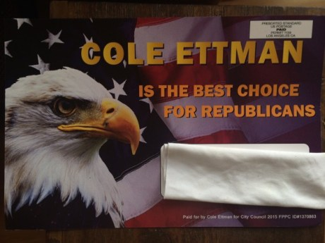 A campaign mailing seeming to offer a Republican endorsement of Cole Ettman.