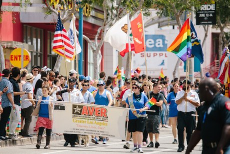 Members of the greater Los Angeles chapter of the American Veterans for Equal Rights in the 2015 L.A. Pride parade. (Photo by David Vaughn)