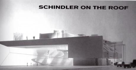 "This concept suggested raising the Schindler House on a platform above the rooflines of neighboring buildings in order to preserve its integrity. (Image credit: Coop Himmelb(lau), as published in ""Architectural Resistance: Contemporary Architects Face Schindler Today,"" 2003y)"