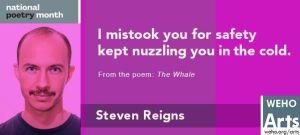 A digital billboard image of City Poet Steven Reigns.