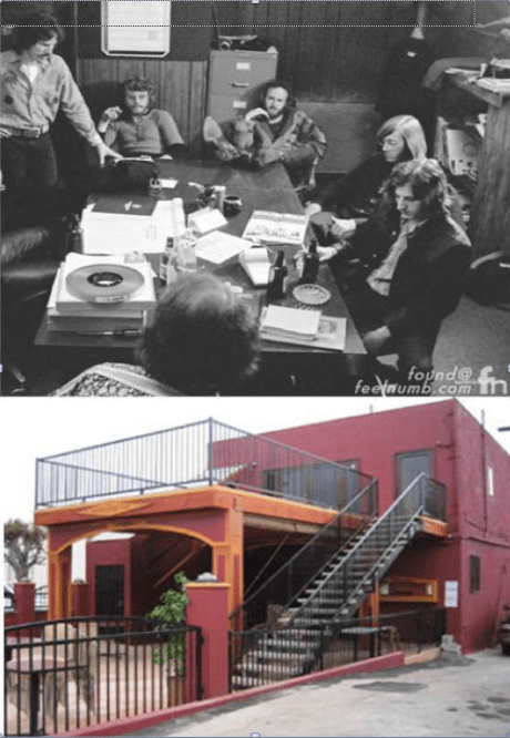 """The Doors' office was located in this building at 8512 Santa Monica Blvd. Jim Morrison laid down the vocal tracks for """"L.A. Woman"""" in the men's restroom in the basement . The top photo shows the group during a meeting in their conference room. Route 66 News includes their office and eight other locations on Santa Monica Boulevard in West Hollywood in its """"Rock Landmarks Along Route 66"""" list."""