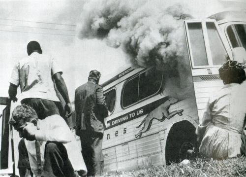 Freedom Riders, after their bus was attacked and set aflame by a white supremacist mob near Anniston, Alabama, 1961