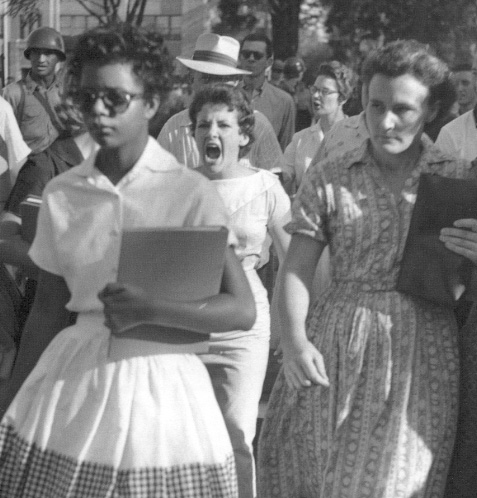 Elizabeth Eckford, who volunteered to be one of the first black students to enter the formerly all-white Central High School in Little Rock, Arkansas, on the first day of school in 1957
