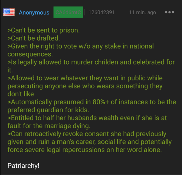 126042391 ANONYMOUS 11 MIN AGO >CAN'T BE SENT TO PRISON >CAN'T BE DRAFTED >GIVEN THE RIGHT TO VOTE WO ANY STAKE IN NATIONAL CONSEQUENCES >IS LEGALLY ALLOWED TO MURDER CHRILDEN AND CELEBRATED FOR >ALLOWED TO WEAR WHATEVER THEY WANT IN PUBLIC WHILE PERSECUTING ANYONE ELSE WHO WEARS SOMETHING THEY DON'T LIKE >AUTOMATICALLY PRESUMED IN 80%+ OF INSTANCES TO BE THE PREFERRED GUARDIAN FOR KIDS >ENTITLED TO HALF HER HUSBANDS WEALTH EVEN IF SHE IS AT FAULT FOR THE MARRIAGE DYING >CAN RETROACTIVELY REVOKE CONSENT SHE HAD PREVIOUSLY GIVEN AND RUIN A MAN'S CAREER SOCIAL LIFE AND POTENTIALLY FORCE SEVERE LEGAL REPERCUSSIONS ON HER WORD ALONE PATRIARCHY!