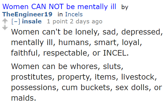 insale 1 point 2 days ago  Women can't be lonely, sad, depressed, mentally ill, humans, smart, loyal, faithful, respectable, or INCEL. Women can be whores, sluts, prostitutes, property, items, livestock, possessions, cum buckets, sex dolls, or maids.