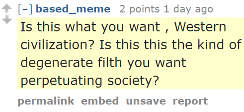 based_meme 2 points 1 day ago Is this what you want , Western civilization? Is this this the kind of degenerate filth you want perpetuating society?