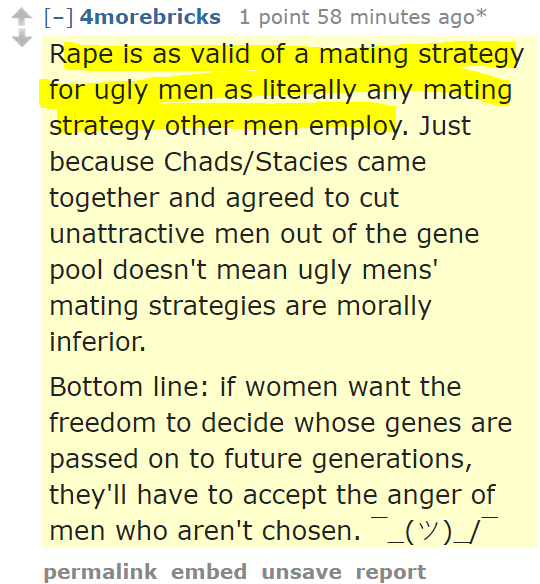 4morebricks 1 point an hour ago* Rape is as valid of a mating strategy for ugly men as literally any mating strategy other men employ. Just because Chads/Stacies came together and agreed to cut unattractive men out of the gene pool doesn't mean ugly mens' mating strategies are morally inferior. Bottom line: if women want the freedom to decide whose genes are passed on to future generations, they'll have to accept the anger of men who aren't chosen.
