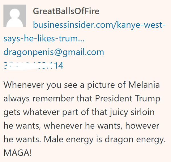 Whenever you see a picture of Melania always remember that President Trump gets whatever part of that juicy sirloin he wants, whenever he wants, however he wants. Male energy is dragon energy. MAGA!