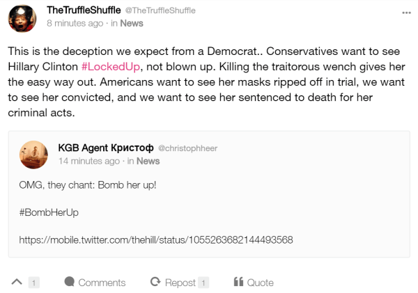 TheTruffleShuffle @TheTruffleShuffle  9 minutes ago · in News This is the deception we expect from a Democrat.. Conservatives want to see Hillary Clinton #LockedUp, not blown up. Killing the traitorous wench gives her the easy way out. Americans want to see her masks ripped off in trial, we want to see her convicted, and we want to see her sentenced to death for her criminal acts.