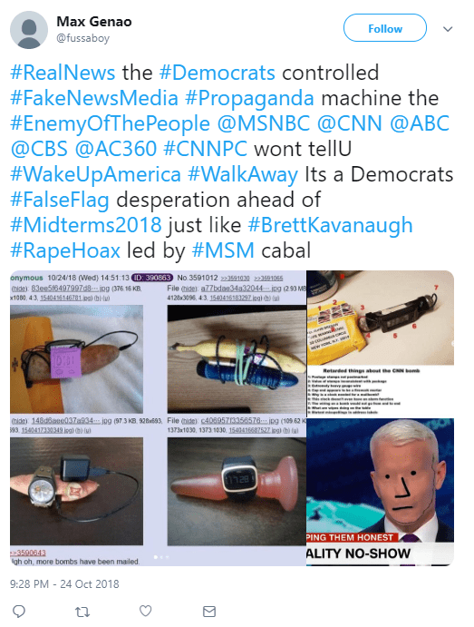 Max Genao ‏ @fussaboy Follow Follow @fussaboy More #RealNews the #Democrats controlled #FakeNewsMedia #Propaganda machine the #EnemyOfThePeople @MSNBC @CNN @ABC @CBS @AC360 #CNNPC wont tellU #WakeUpAmerica #WalkAway Its a Democrats #FalseFlag desperation ahead of #Midterms2018 just like #BrettKavanaugh #RapeHoax led by #MSM cabal