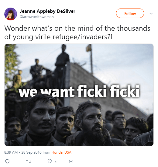 Jeanne Appleby DeSilver ‏ @arrowsmithwoman Follow Follow @arrowsmithwoman More Wonder what's on the mind of the thousands of young virile refugee/invaders?!