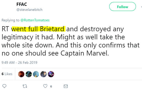 RT went full Brietard and destroyed any legitimacy it had. Might as well take the whole site down. And this only confirms that no one should see Captain Marvel.