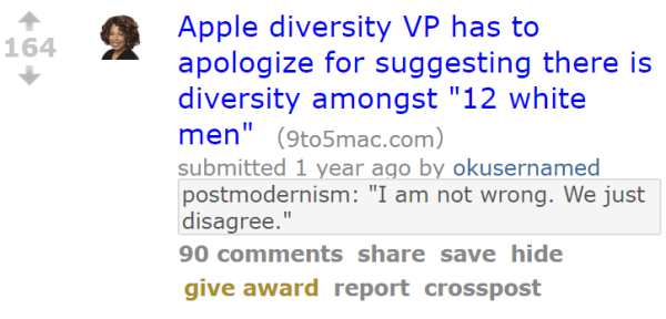 "Apple diversity VP has to apologize for suggesting there is diversity amongst ""12 white men"""