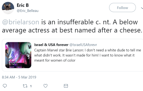 Eric B ‏   @Eric_Belleau Follow Follow @Eric_Belleau More Eric B Retweeted Israel & USA forever @brielarson is an insufferable cunt. A below average actress at best named after a cheese.