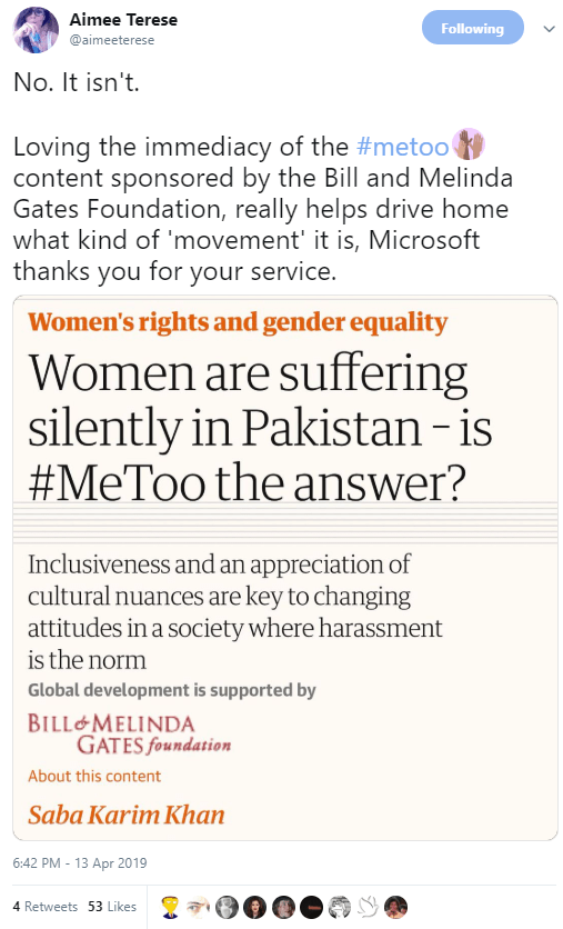 No. It isn't.   Loving the immediacy of the #metoo content sponsored by the Bill and Melinda Gates Foundation, really helps drive home what kind of 'movement' it is, Microsoft thanks you for your service.