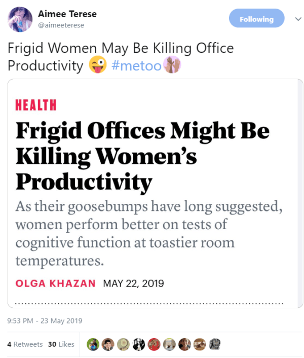 Frigid Women May Be Killing Office Productivity 😜 #metoo