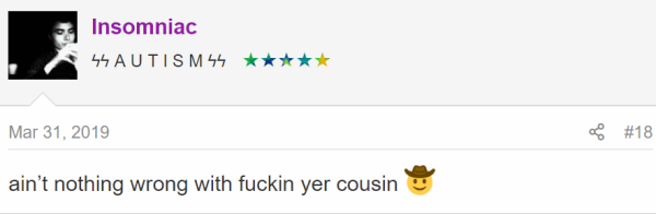 ain't nothing wrong with fuckin yer cousin