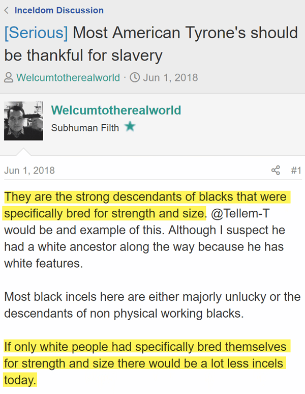 [Serious] Most American Tyrone's should be thankful for slavery  Welcumtotherealworld Subhuman Filth - JoinedMar 11, 2018 Messages1,562 Jun 1, 2018 #1 They are the strong descendants of blacks that were specifically bred for strength and size. @Tellem-T would be and example of this. Although I suspect he had a white ancestor along the way because he has white features.   Most black incels here are either majorly unlucky or the descendants of non physical working blacks.   If only white people had specifically bred themselves for strength and size there would be a lot less incels today.