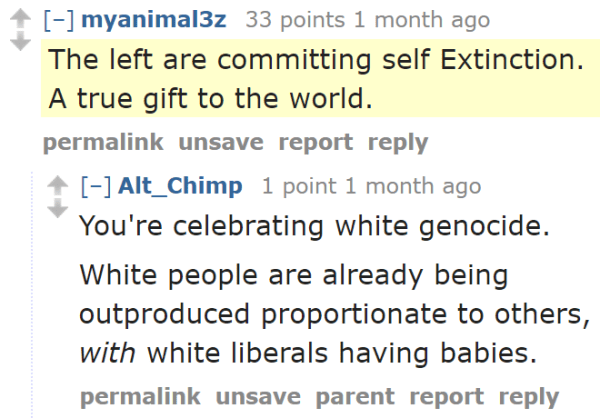 myanimal3z 33 points 1 month ago  The left are committing self Extinction. A true gift to the world.  permalinkunsavereportreply  [–]Alt_Chimp 1 point 1 month ago  You're celebrating white genocide.  White people are already being outproduced proportionate to others, with white liberals having babies.