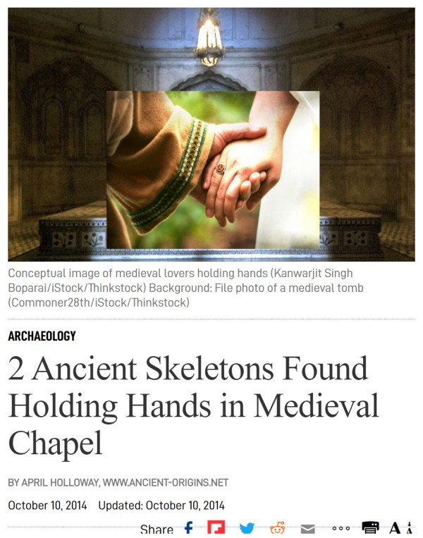 ARCHAEOLOGY 2 Ancient Skeletons Found Holding Hands in Medieval Chapel